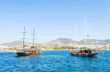 Sailing boat on Mediterranean sea, Turkey photo
