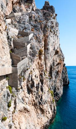 Rocky coastline on the island of Crete. Place called Calypso photo
