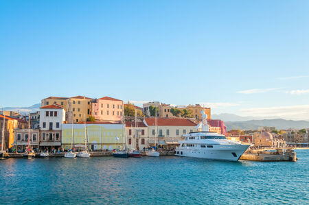Panoramic View near Mediterranean coast in Crete. Greece. Chania Stock Photo - 24639530