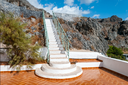 outdoor outside: Long white staircase leading to the sky