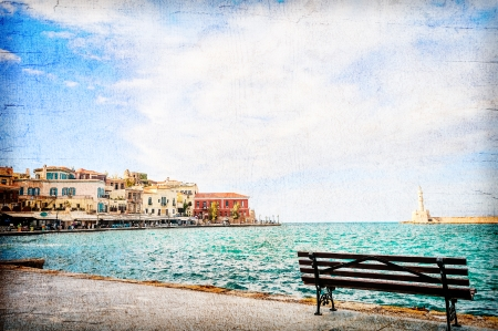 Beautiful view from the stone embankment of the Mediterranean Sea. Textured collage photo