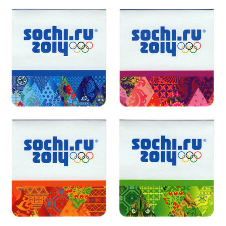 olympiad: RUSSIA - CIRCA 2014  Four magnetic objects with sochi design symbolic, the XXII Olympic Winter Games in Sochi 2014, circa 2014