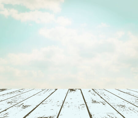 Vintage interior. Grunge wooden plank against sky. EPS 10 vector illustration. Used meshes and transparency layers Vector