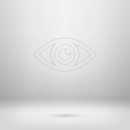 gray eyes: Contour icon in empty light interior for your creative project. Illustration