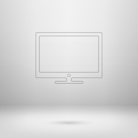 Contour icon in empty light interior for your creative project   Vector
