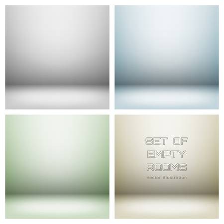 Set of empty light interiors with copyspace illustration  Used gradient mesh and transparency layers Vector