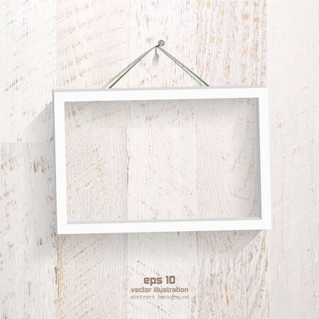 Empty frame picture on the shabby and painted wooden plank.  Vector