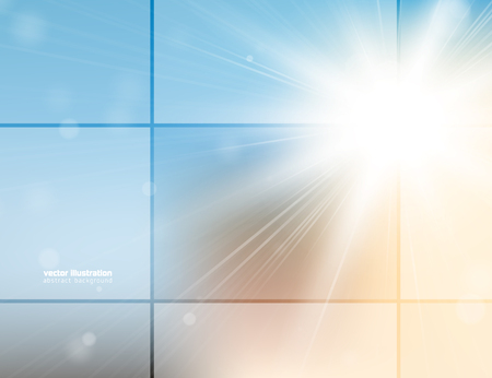 Abstract background with bright sunlight and blured bokeh.  Vector