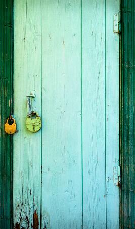 green door: Old door