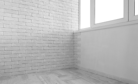 white window: Vintage interior of white brick wall and old wooden floor