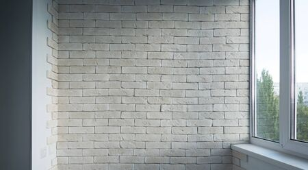hormig�n: Vintage interior of white brick wall and old wooden floor