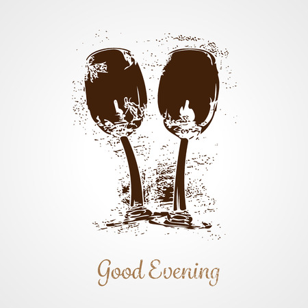 bar ware: Stylized pair of wine glasses. EPS 10 vector illustration Illustration
