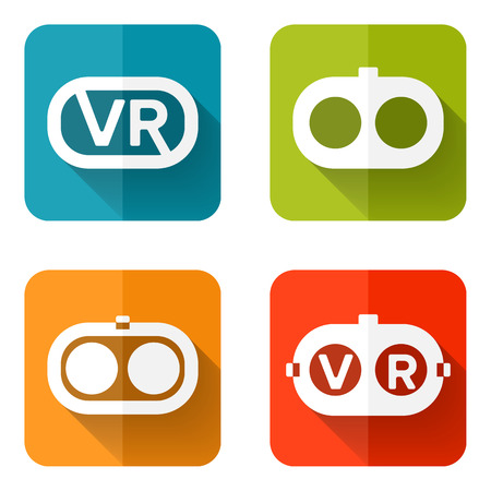 eyeball: Set of web icons or flat design elements. Headset vector illustration. Used transparency layers for elements of layout