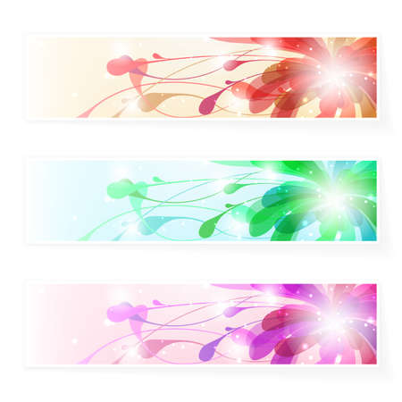 floristic: Set floristic banners. Vector illustration. Used transparency of particles Illustration