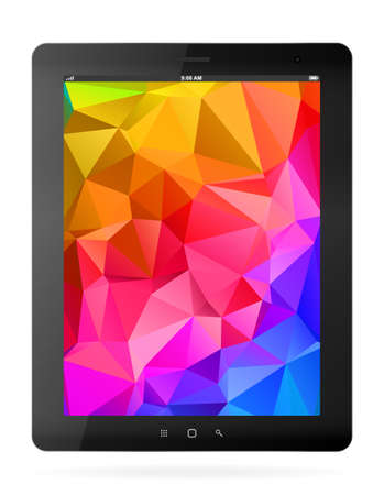 palmtop: Vector black tablet pc on white background