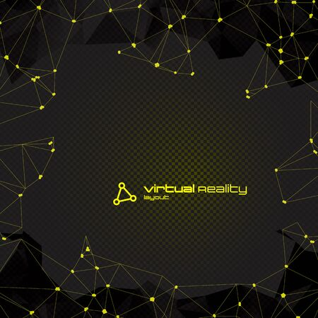 black yellow: Abstract Polygonal Futuristic Background with copyspace. Vector Lowpoly Illustration. Used opacity layers and transparency Illustration