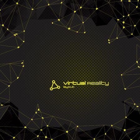 amarillo y negro: Fondo futurista abstracto con copyspace poligonal. Ilustración vectorial lowpoly. capas de opacidad y transparencia