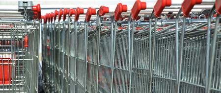 pushcart: Supermarket trolleys near of mall parking Stock Photo