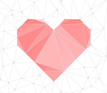 heart background: Trendy Heart Triangular Background. Lowpoly Polygonal  illustration.