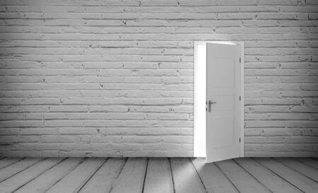 secrets: Open white door in a empty red room
