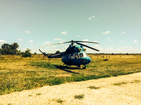 Helikopter op het helikopterplatform