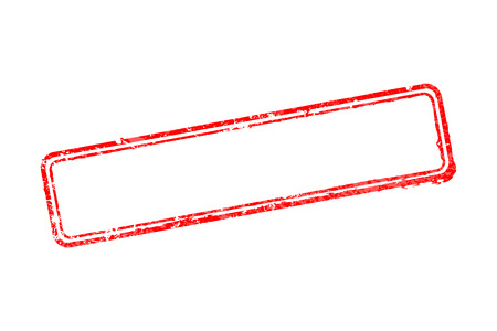 Empty Frame of rubber stamps with red border lines isolated on white