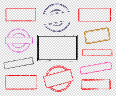 Big set of empty rubber stamps. Vector illustration for use on opacity background