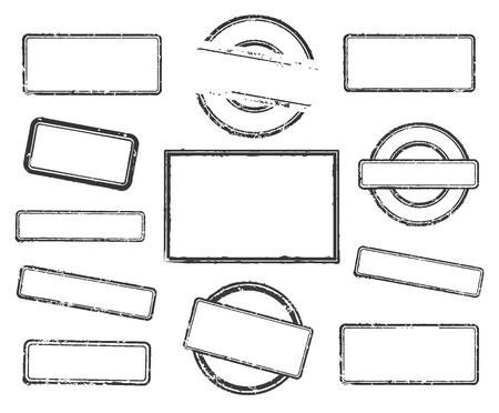 Grande set di timbri in gomma vuoti. Illustrazione vettoriale su sfondo bianco