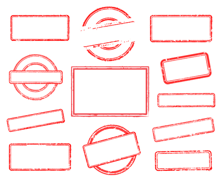 Big set of empty rubber stamps. Vector illustration on white background