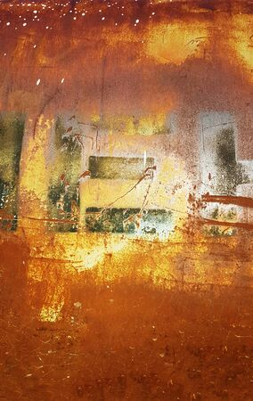 Abstract grungy background from rusty painted, stained, scratched and burned surface of metal 版權商用圖片