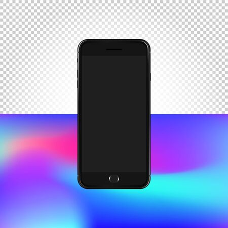 Conceptual Mockup on transparent background. Vector illustration of Smartphone. Contents mesh and transparent objects Vectores