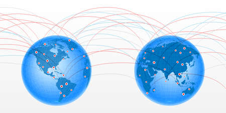 Pair globes linking Illustration