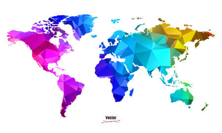 LGBT rainbow pride flag in a shape of World map Vector Illustration
