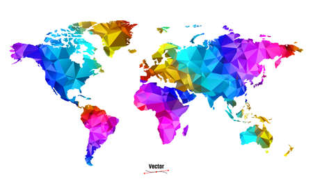 LGBT rainbow pride flag in a shape of World map