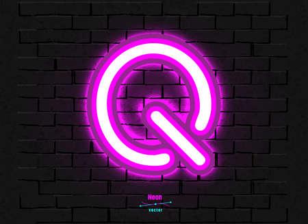 Vector Neon Letter Q Foto de archivo