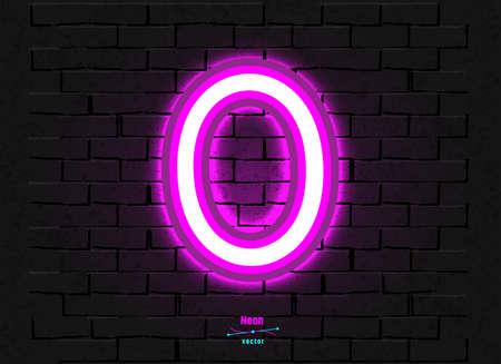 Vector Neon Digit 0