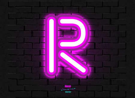 Vector Neon Letter R Foto de archivo