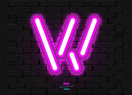 Vector Neon Letter W Foto de archivo