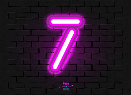Vector Neon Digit 7