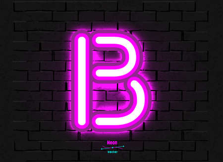 Vector Neon Letter B