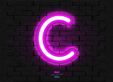 Vector Neon Letter C