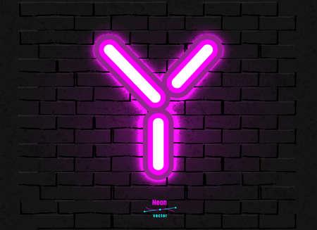 Vector Neon Letter Y