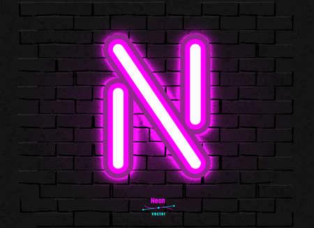 Vector Neon Letter N Foto de archivo