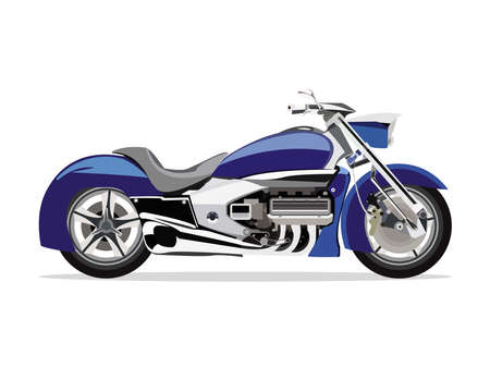 Detailed flat blue motorcycle or motobike cartoon with shadow. Vectores