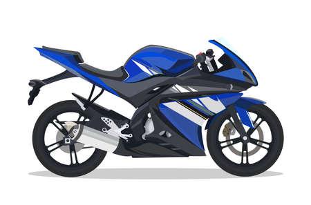 Gedetailleerde vlakke zwarte blauwe motorfiets of motorfietsbeeldverhaal met schaduw.
