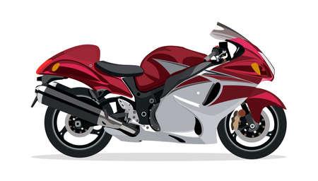 Detailed  flat red white racing motor bike cartoon.