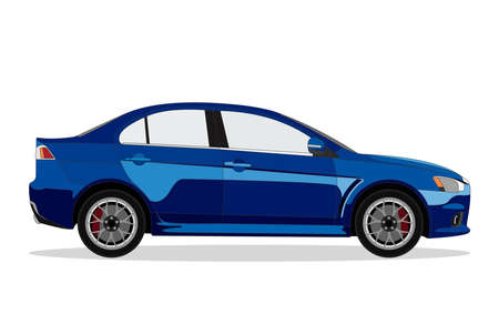 car isolated: Detailed flat blue sedan car cartoon with shadow