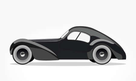 detailed side of a flat black car cartoon with shadow effect