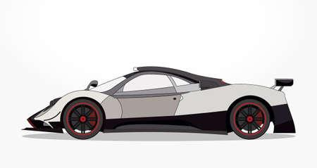gedetailleerde kant van een platte witte zwarte auto cartoon met schaduweffect