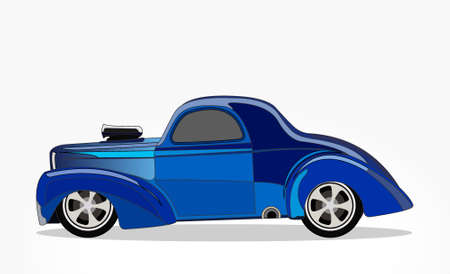 detailed side of a flat blue car cartoon with shadow effect